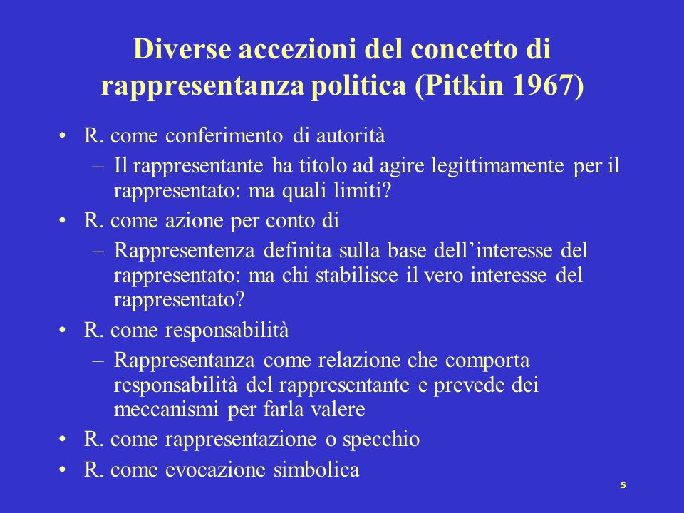 Diverse accezioni del concetto di rappresentanza politica (Pitkin 1967)