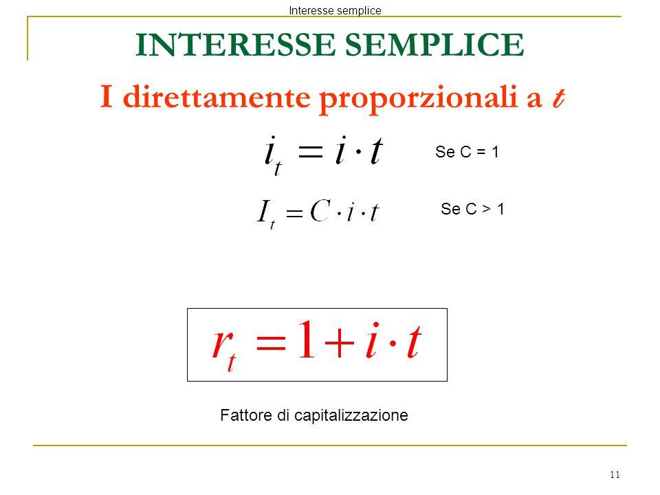 INTERESSE SEMPLICE I direttamente proporzionali a t