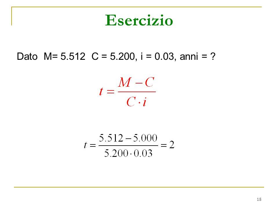 Esercizio Dato M= 5.512 C = 5.200, i = 0.03, anni =