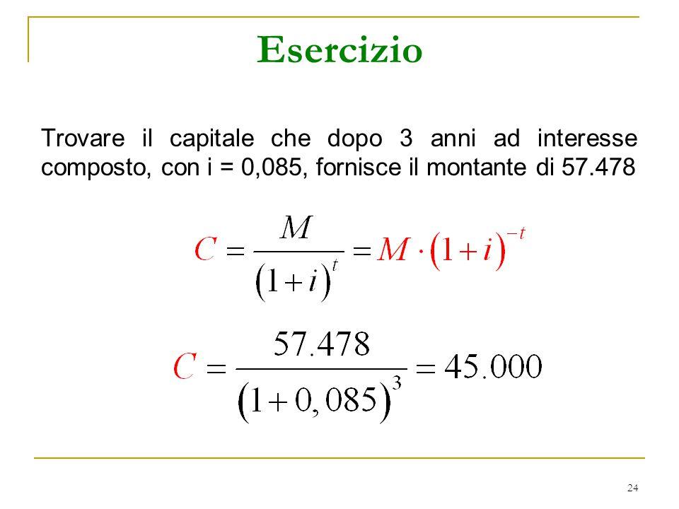 Esercizio Trovare il capitale che dopo 3 anni ad interesse composto, con i = 0,085, fornisce il montante di 57.478.