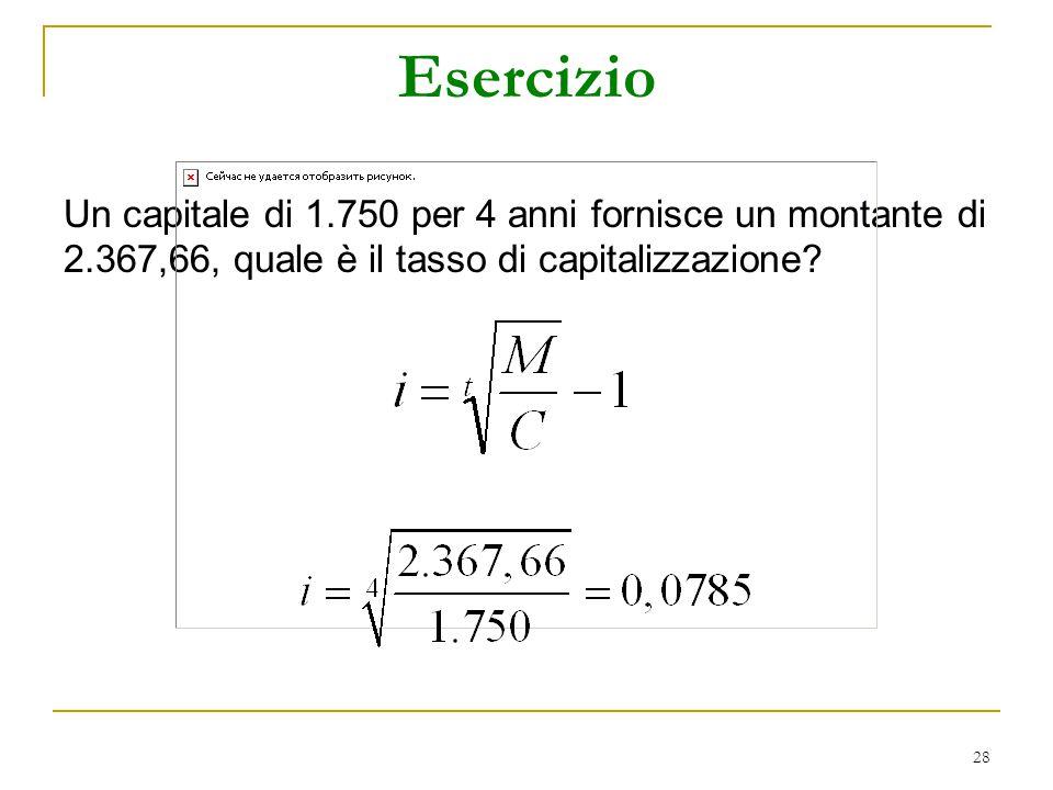 Esercizio Un capitale di 1.750 per 4 anni fornisce un montante di 2.367,66, quale è il tasso di capitalizzazione