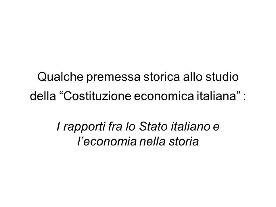 I rapporti fra lo Stato italiano e l'economia nella storia