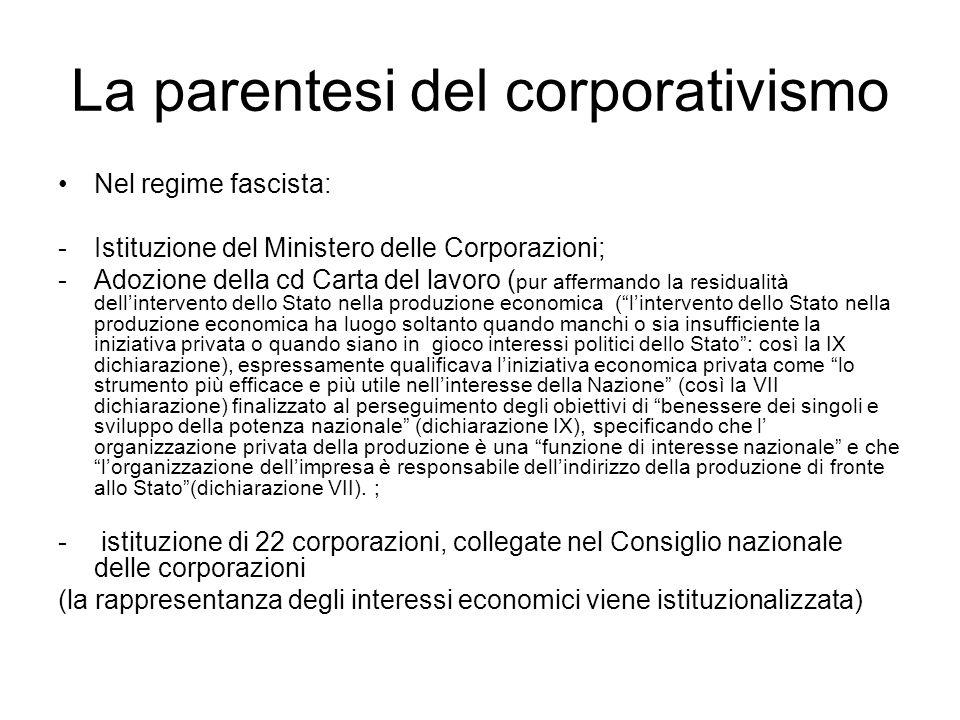 La parentesi del corporativismo