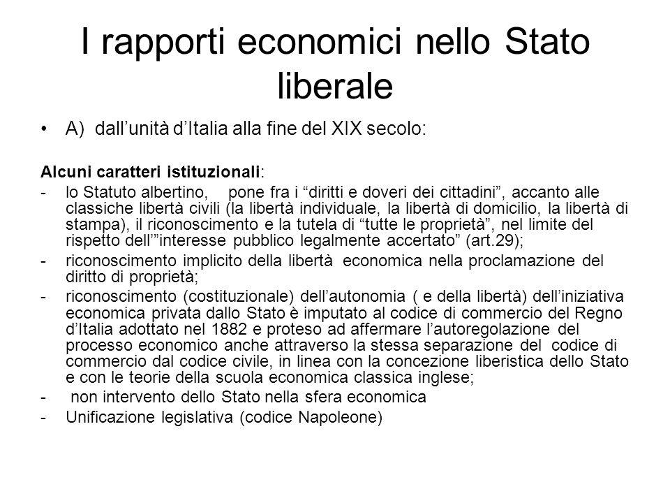 I rapporti economici nello Stato liberale