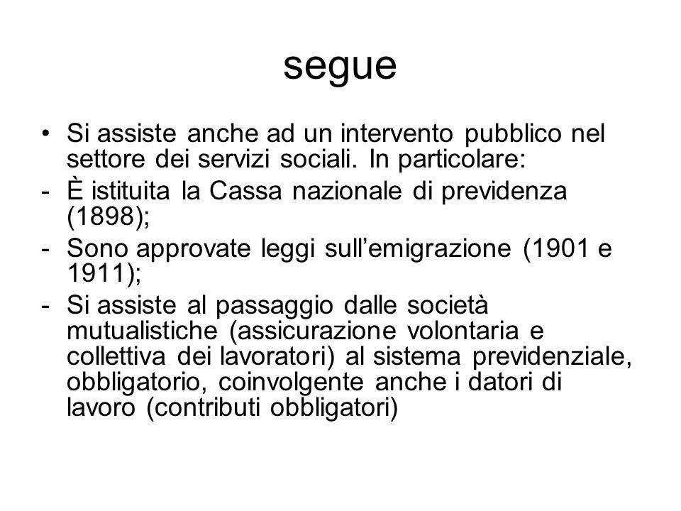 segue Si assiste anche ad un intervento pubblico nel settore dei servizi sociali. In particolare: