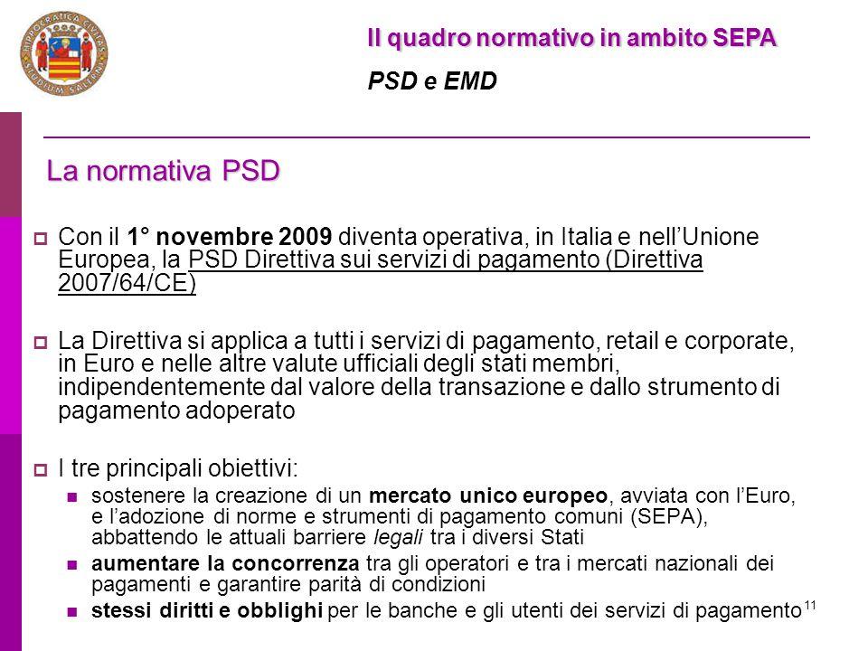 La normativa PSD Il quadro normativo in ambito SEPA PSD e EMD