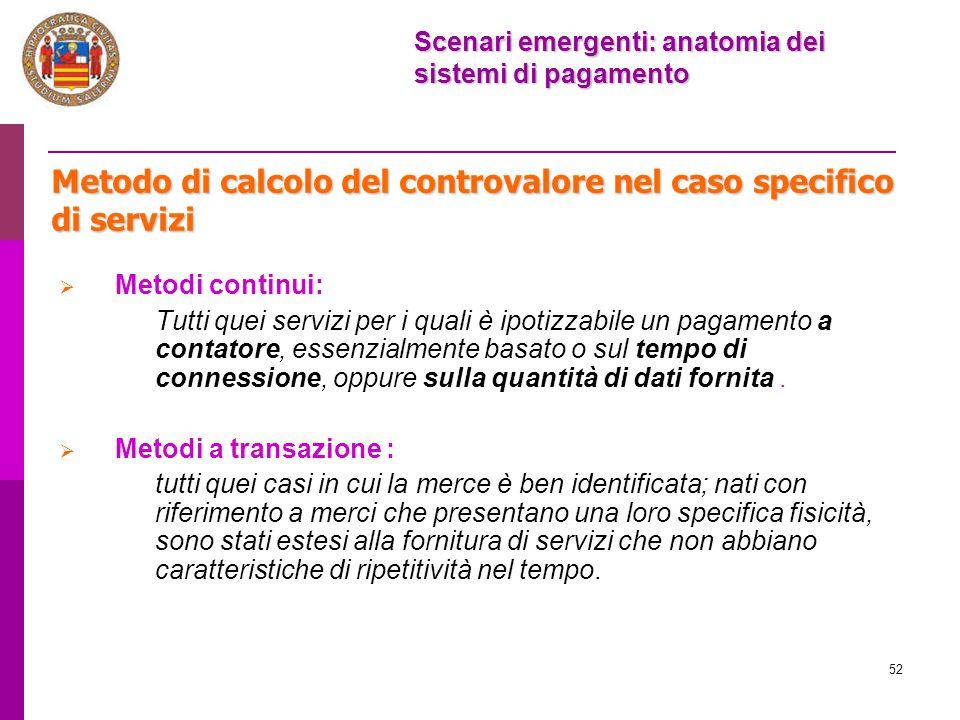 Metodo di calcolo del controvalore nel caso specifico di servizi