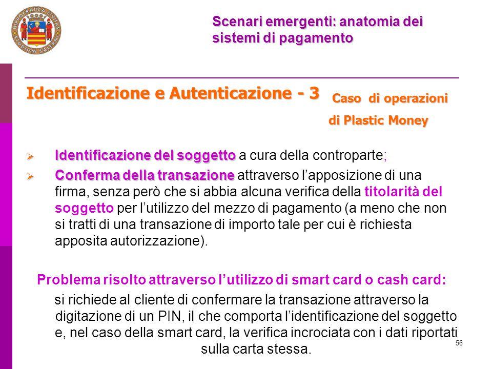 Problema risolto attraverso l'utilizzo di smart card o cash card: