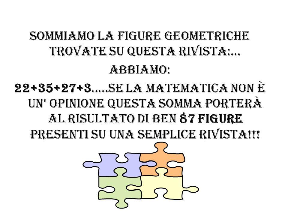 Sommiamo la figure geometriche trovate su questa rivista:…