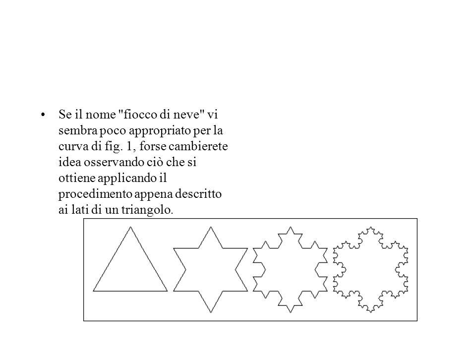 Se il nome fiocco di neve vi sembra poco appropriato per la curva di fig. 1, forse cambierete idea osservando ciò che si ottiene applicando il procedimento appena descritto ai lati di un triangolo.