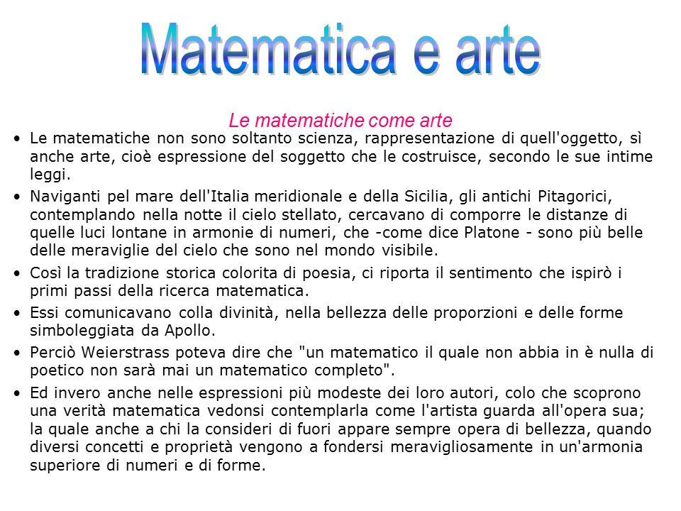 Le matematiche come arte