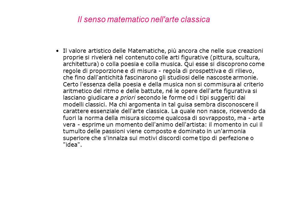Il senso matematico nell arte classica
