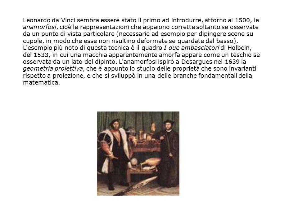 Leonardo da Vinci sembra essere stato il primo ad introdurre, attorno al 1500, le anamorfosi, cioè le rappresentazioni che appaiono corrette soltanto se osservate da un punto di vista particolare (necessarie ad esempio per dipingere scene su cupole, in modo che esse non risultino deformate se guardate dal basso).