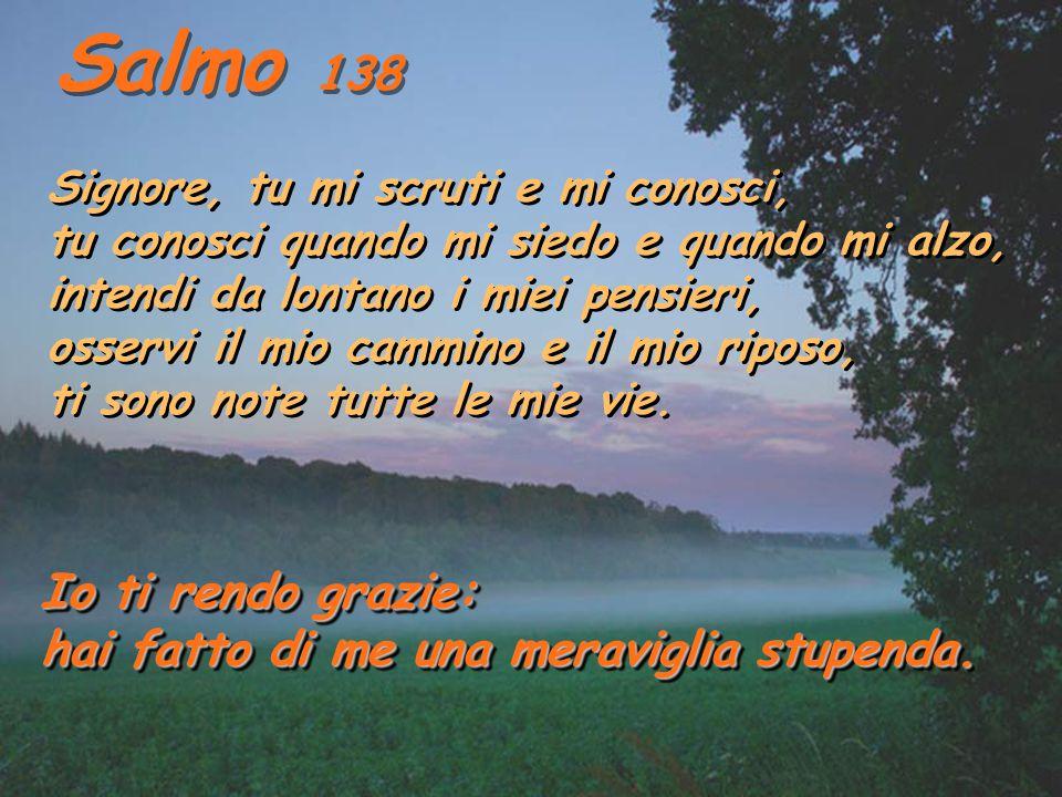 Salmo 138 Io ti rendo grazie: hai fatto di me una meraviglia stupenda.