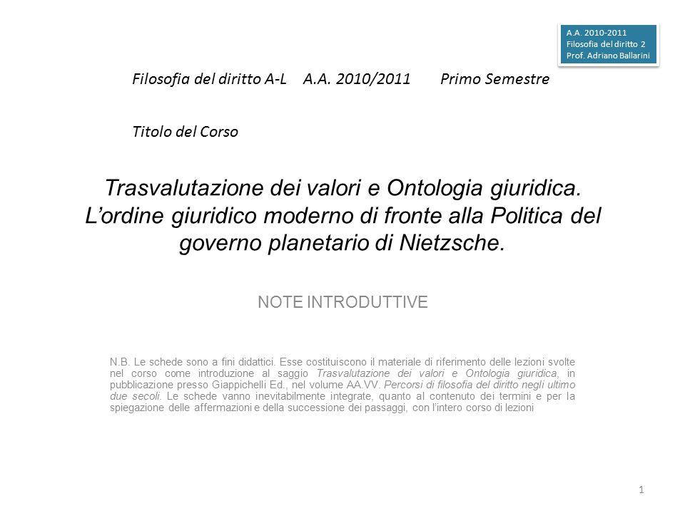 A.A. 2010-2011 Filosofia del diritto 2. Prof. Adriano Ballarini. Filosofia del diritto A-L A.A. 2010/2011 Primo Semestre.