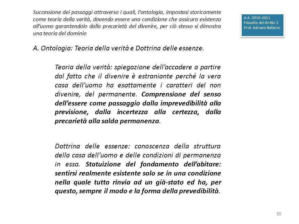 A. Ontologia: Teoria della verità e Dottrina delle essenze.