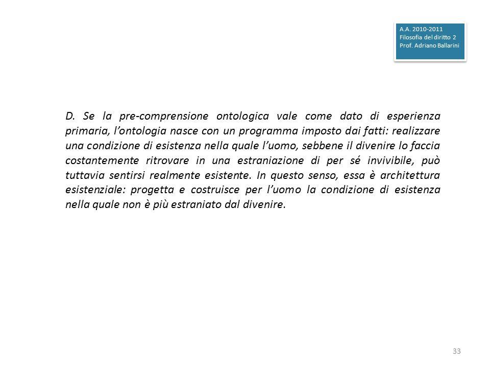 A.A. 2010-2011 Filosofia del diritto 2. Prof. Adriano Ballarini.