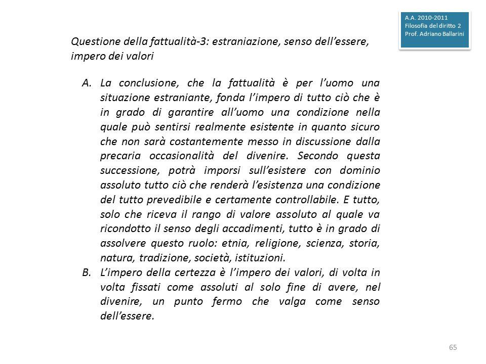 A.A. 2010-2011 Filosofia del diritto 2. Prof. Adriano Ballarini. Questione della fattualità-3: estraniazione, senso dell'essere, impero dei valori.