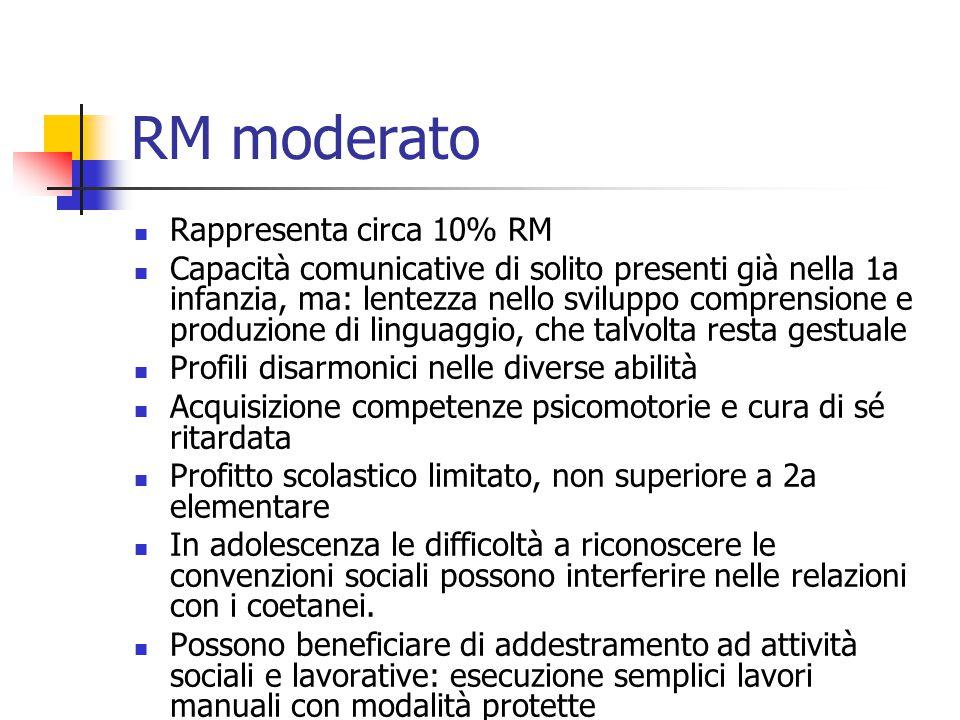 RM moderato Rappresenta circa 10% RM