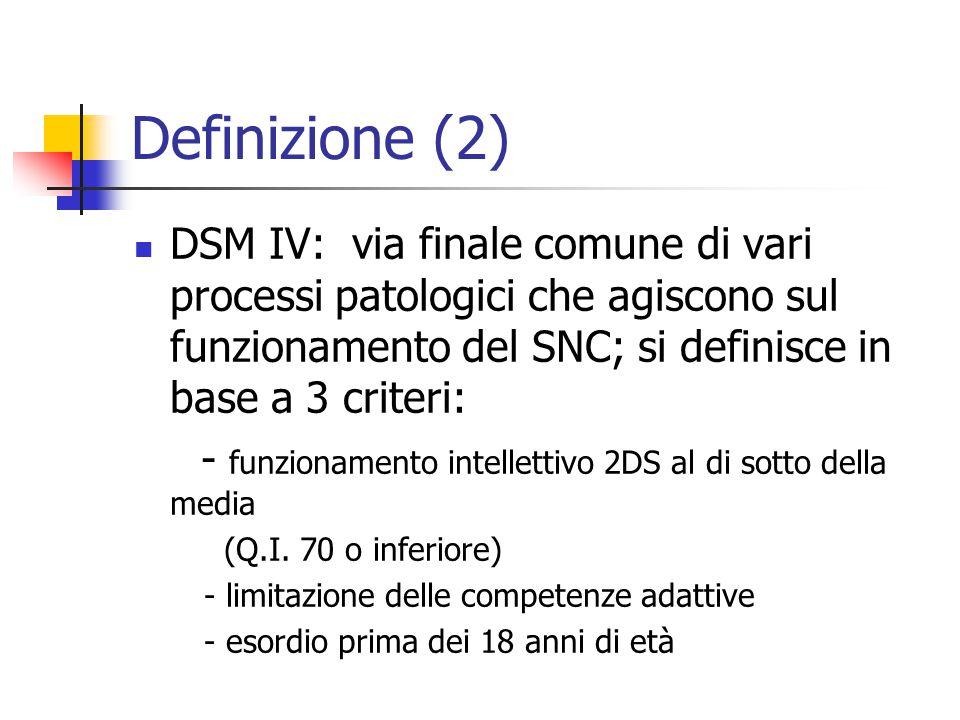 Definizione (2) DSM IV: via finale comune di vari processi patologici che agiscono sul funzionamento del SNC; si definisce in base a 3 criteri: