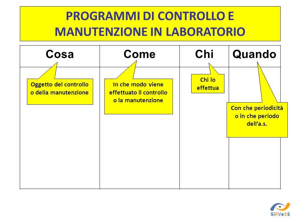 PROGRAMMI DI CONTROLLO E MANUTENZIONE IN LABORATORIO