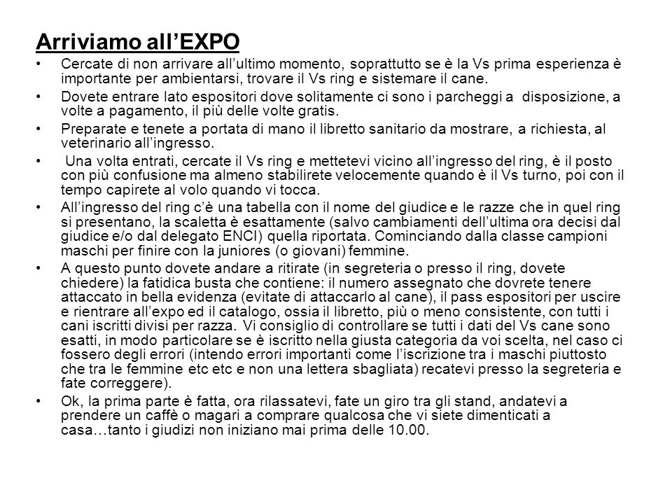 Arriviamo all'EXPO