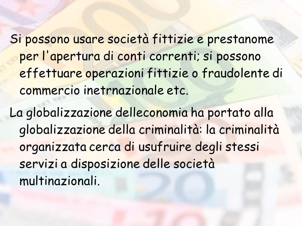 Si possono usare società fittizie e prestanome per l apertura di conti correnti; si possono effettuare operazioni fittizie o fraudolente di commercio inetrnazionale etc.