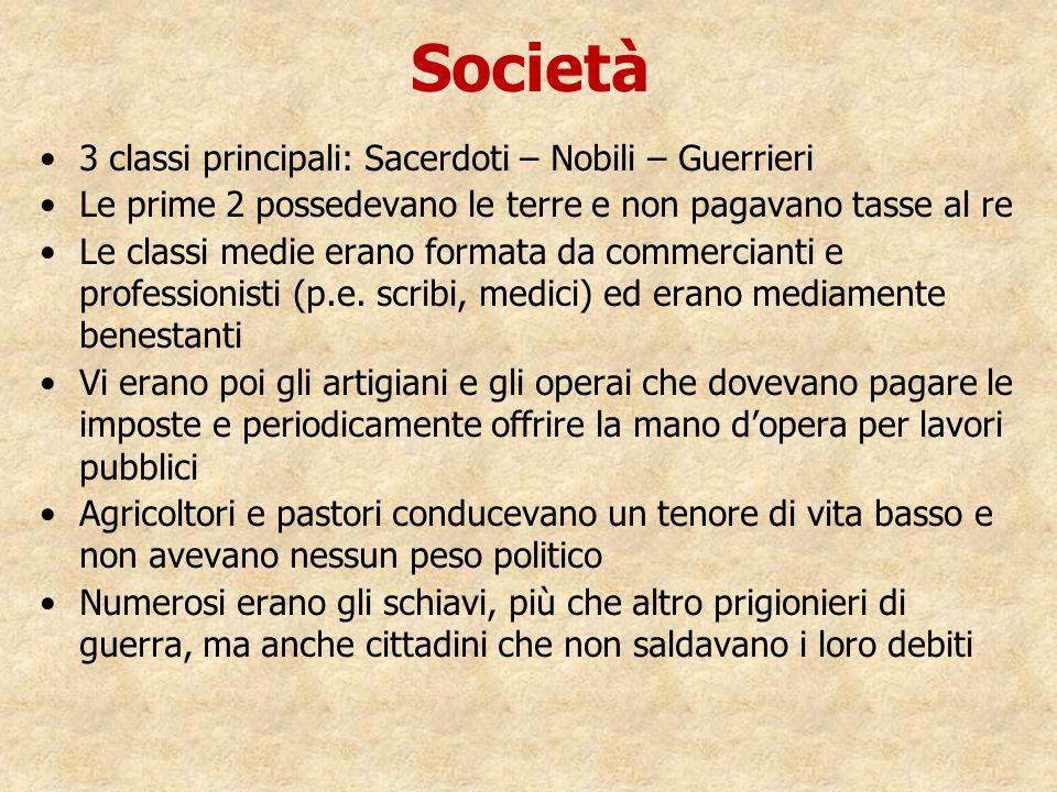 Società 3 classi principali: Sacerdoti – Nobili – Guerrieri