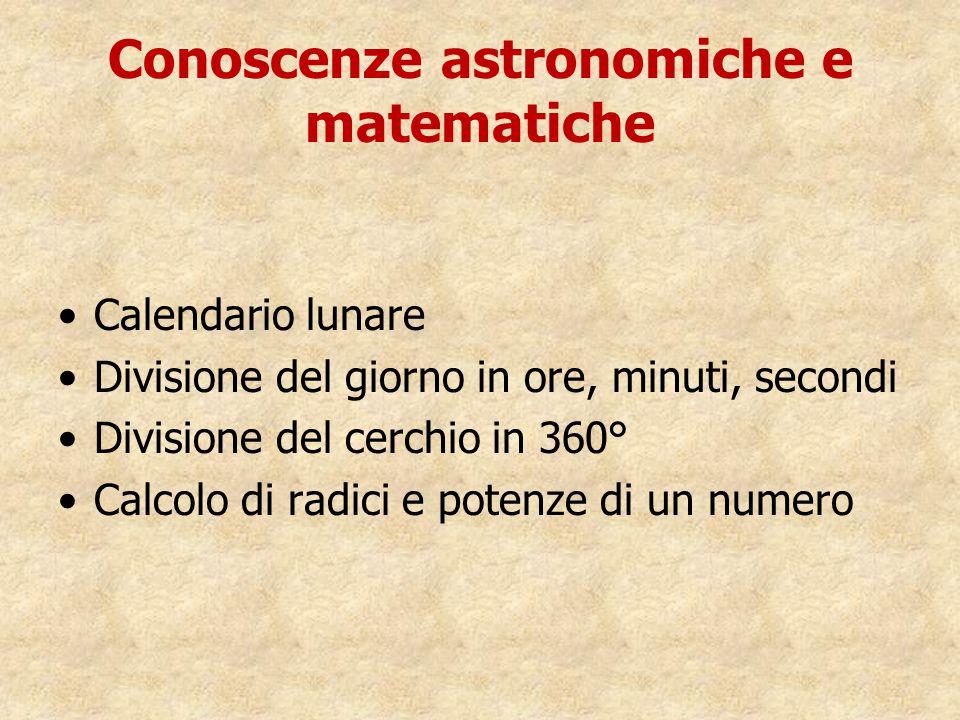 Conoscenze astronomiche e matematiche