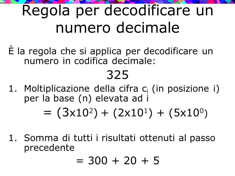 Regola per decodificare un numero decimale