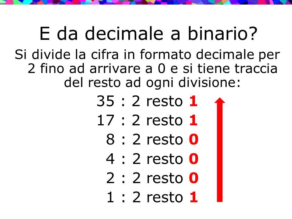 E da decimale a binario 35 : 2 resto 1 17 : 2 resto 1 8 : 2 resto 0