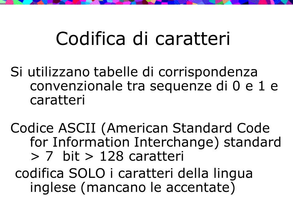 Codifica di caratteri Si utilizzano tabelle di corrispondenza convenzionale tra sequenze di 0 e 1 e caratteri.