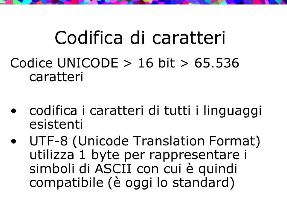 Codifica di caratteri Codice UNICODE > 16 bit > 65.536 caratteri