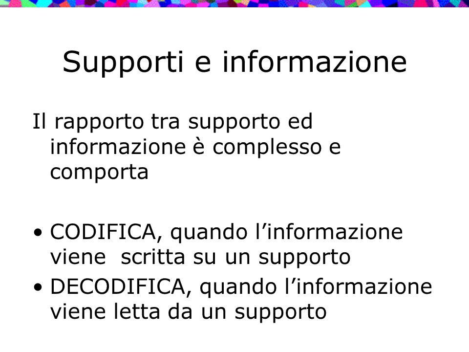 Supporti e informazione