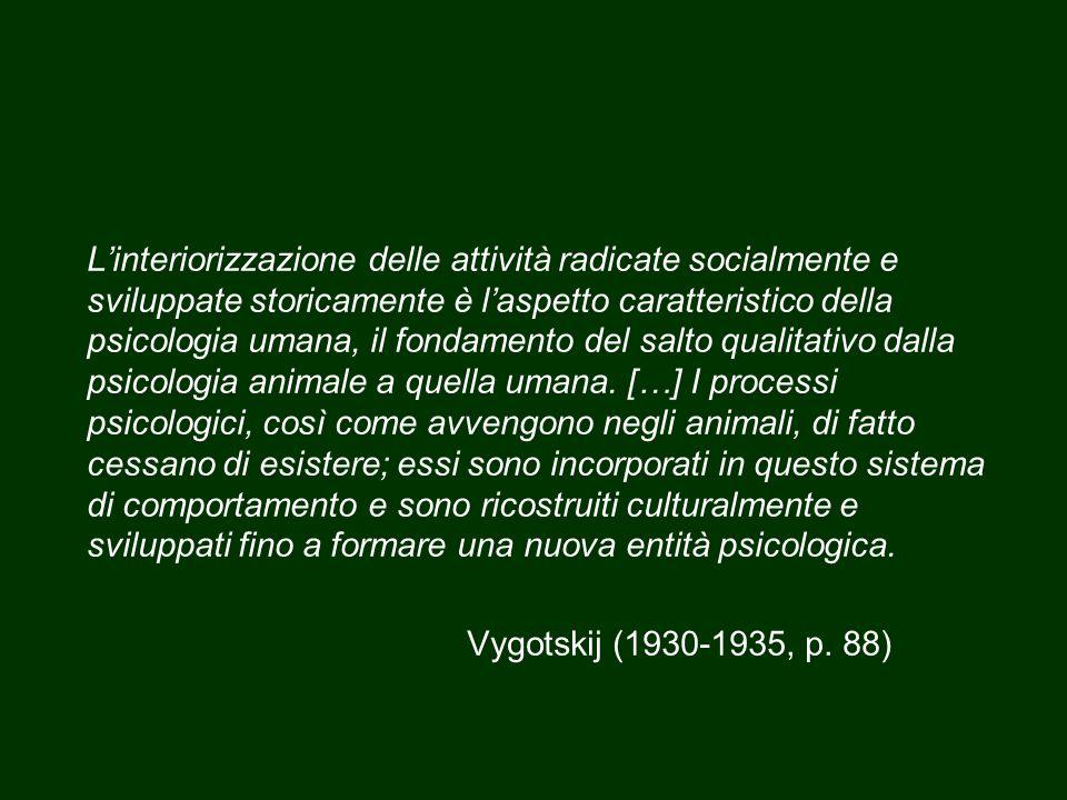 L'interiorizzazione delle attività radicate socialmente e sviluppate storicamente è l'aspetto caratteristico della psicologia umana, il fondamento del salto qualitativo dalla psicologia animale a quella umana.