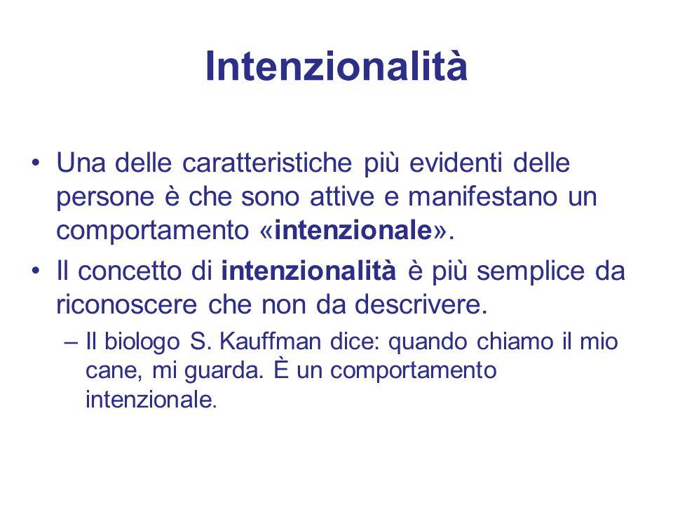 Intenzionalità Una delle caratteristiche più evidenti delle persone è che sono attive e manifestano un comportamento «intenzionale».