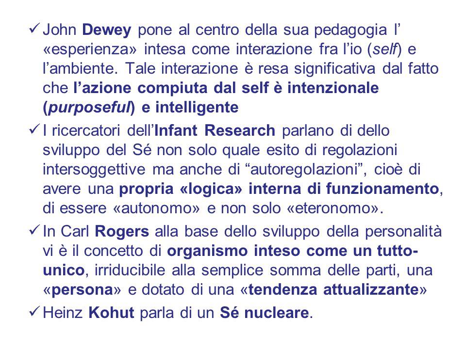 John Dewey pone al centro della sua pedagogia l' «esperienza» intesa come interazione fra l'io (self) e l'ambiente. Tale interazione è resa significativa dal fatto che l'azione compiuta dal self è intenzionale (purposeful) e intelligente