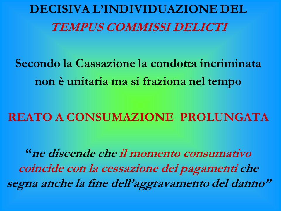 DECISIVA L'INDIVIDUAZIONE DEL TEMPUS COMMISSI DELICTI