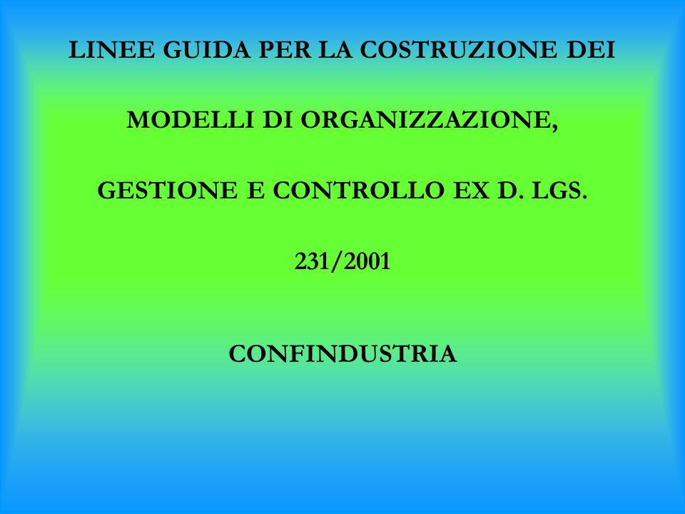 LINEE GUIDA PER LA COSTRUZIONE DEI MODELLI DI ORGANIZZAZIONE, GESTIONE E CONTROLLO EX D. LGS. 231/2001