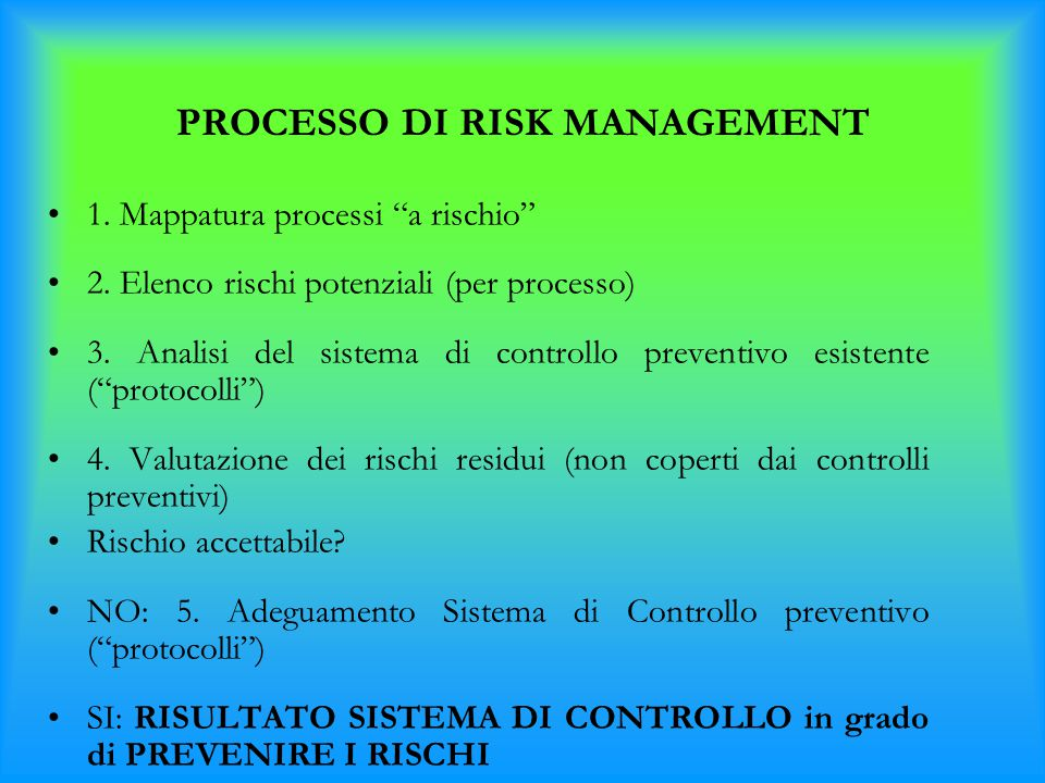 PROCESSO DI RISK MANAGEMENT
