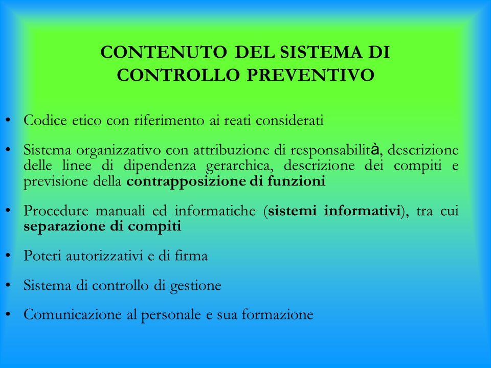 CONTENUTO DEL SISTEMA DI CONTROLLO PREVENTIVO