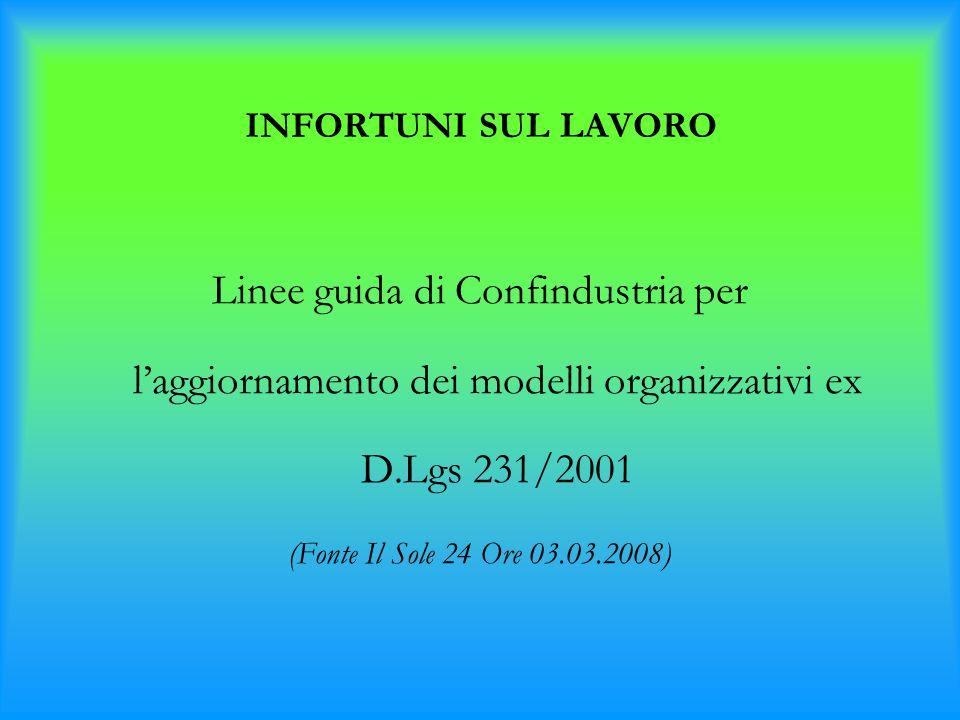 INFORTUNI SUL LAVORO Linee guida di Confindustria per l'aggiornamento dei modelli organizzativi ex D.Lgs 231/2001.