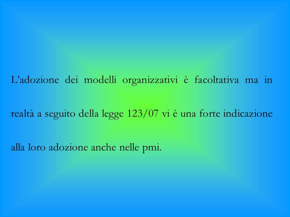 L'adozione dei modelli organizzativi è facoltativa ma in realtà a seguito della legge 123/07 vi è una forte indicazione alla loro adozione anche nelle pmi.