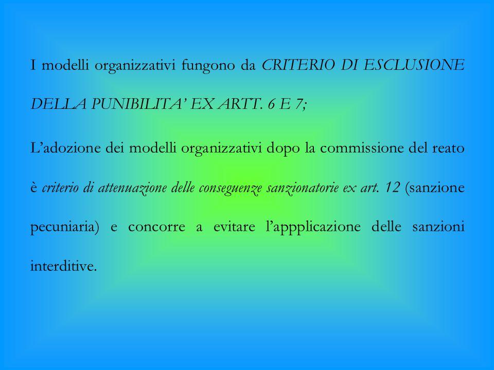 I modelli organizzativi fungono da CRITERIO DI ESCLUSIONE DELLA PUNIBILITA' EX ARTT. 6 E 7;