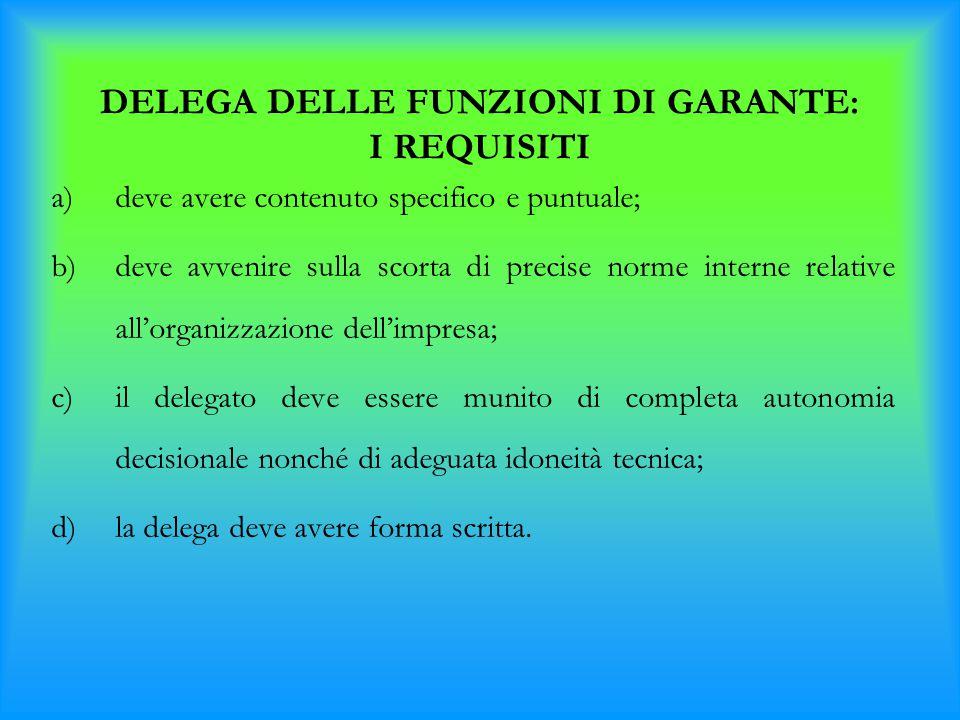 DELEGA DELLE FUNZIONI DI GARANTE: I REQUISITI