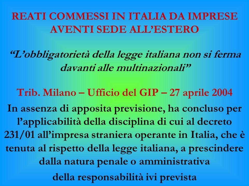 REATI COMMESSI IN ITALIA DA IMPRESE AVENTI SEDE ALL'ESTERO