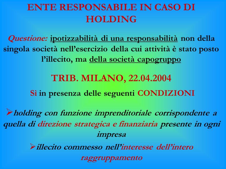 ENTE RESPONSABILE IN CASO DI HOLDING