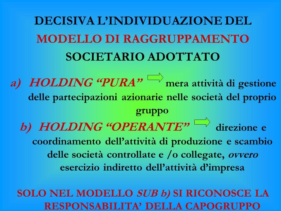 DECISIVA L'INDIVIDUAZIONE DEL MODELLO DI RAGGRUPPAMENTO