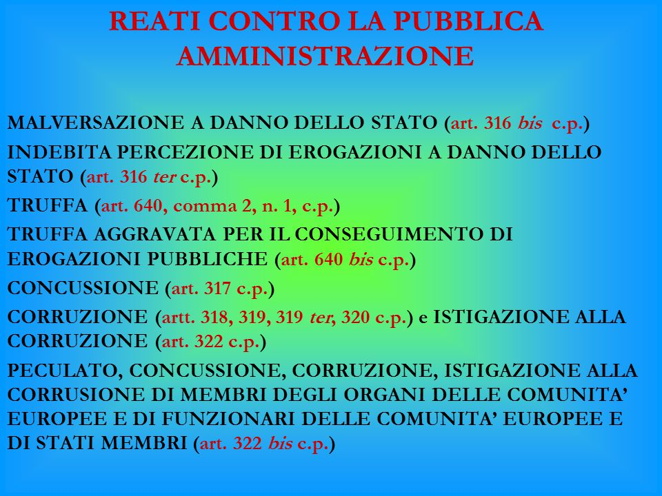 REATI CONTRO LA PUBBLICA AMMINISTRAZIONE