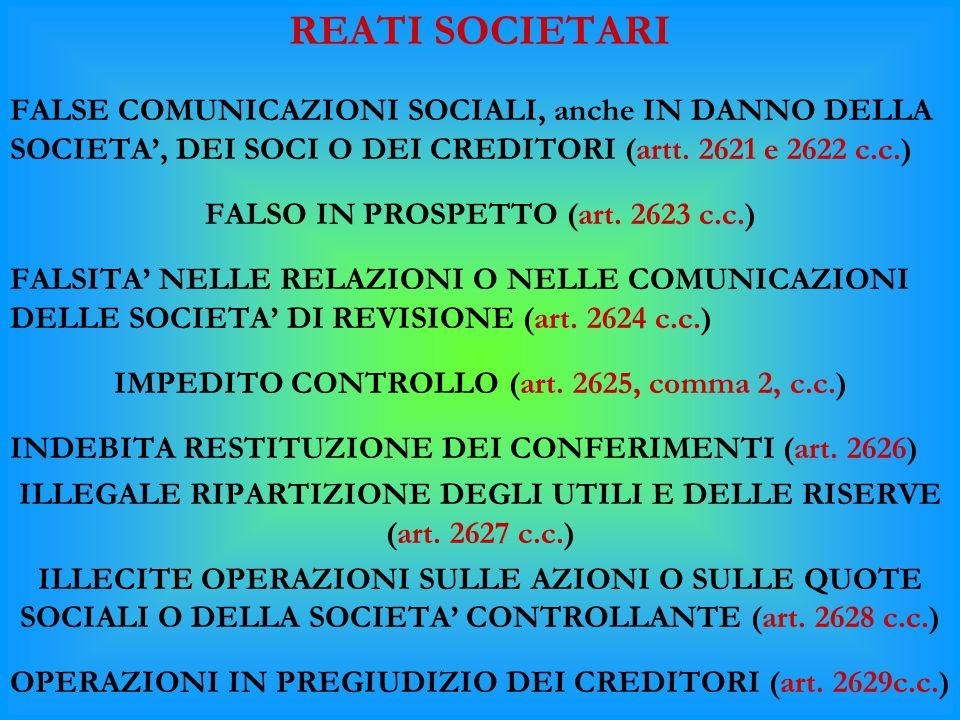 REATI SOCIETARI FALSE COMUNICAZIONI SOCIALI, anche IN DANNO DELLA SOCIETA', DEI SOCI O DEI CREDITORI (artt. 2621 e 2622 c.c.)